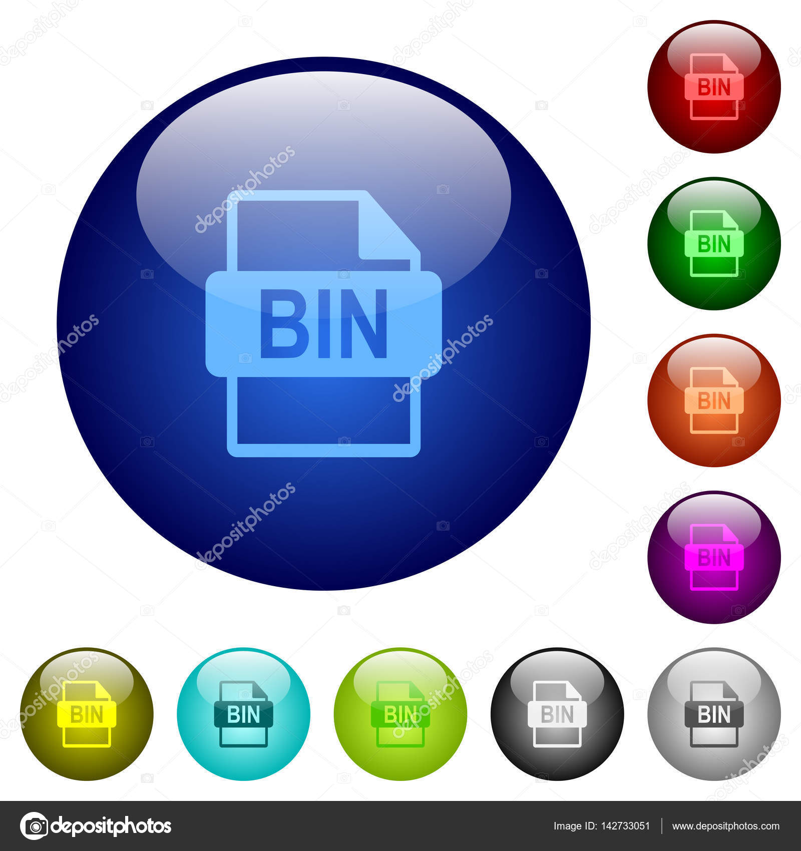 Bin file format color glass buttons — Stock Vector © renegadehomie