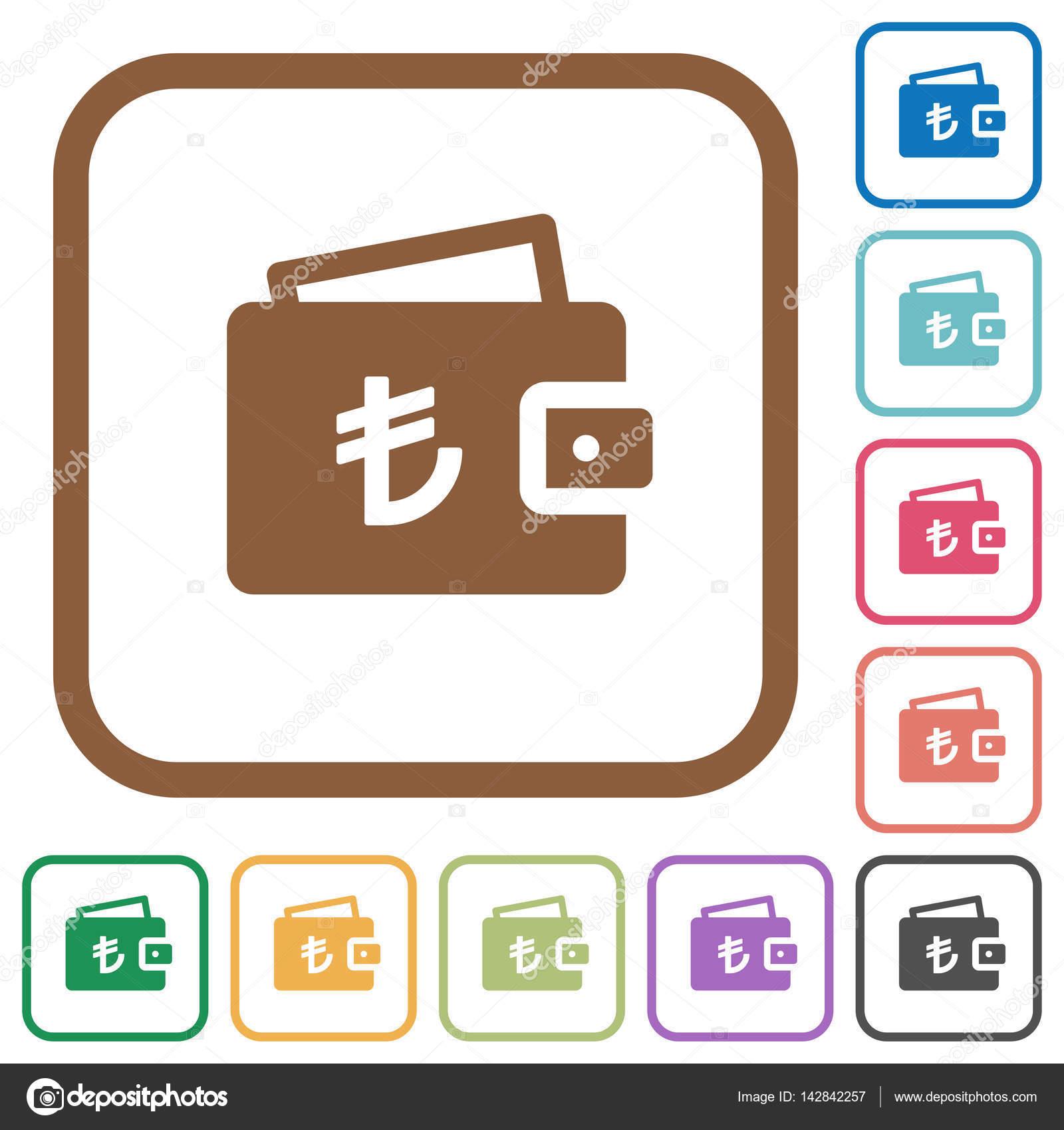 Türkische Lira Brieftasche einfache Symbole — Stockvektor ...