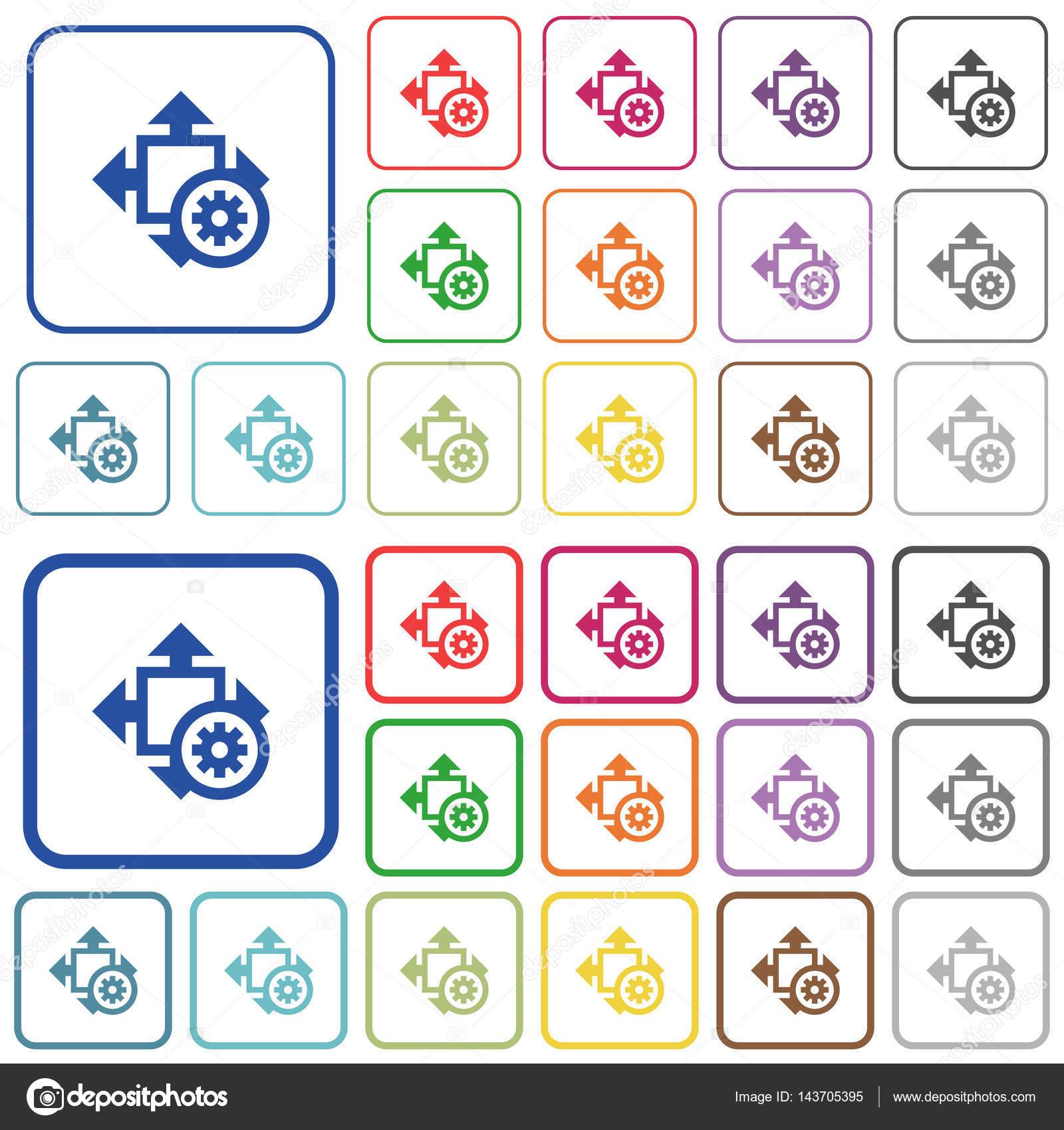 Ajustes de tamaño indica los iconos de color plano — Archivo ...