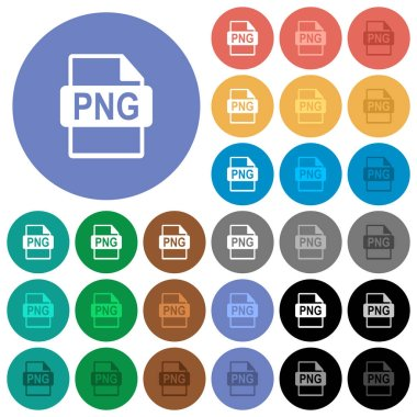 PNG file format round flat multi colored icons