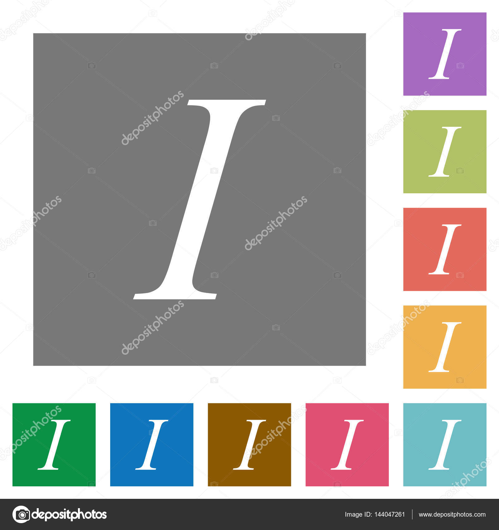 Italic Font Type Square Flat Icons Stock Vector Renegadehomie