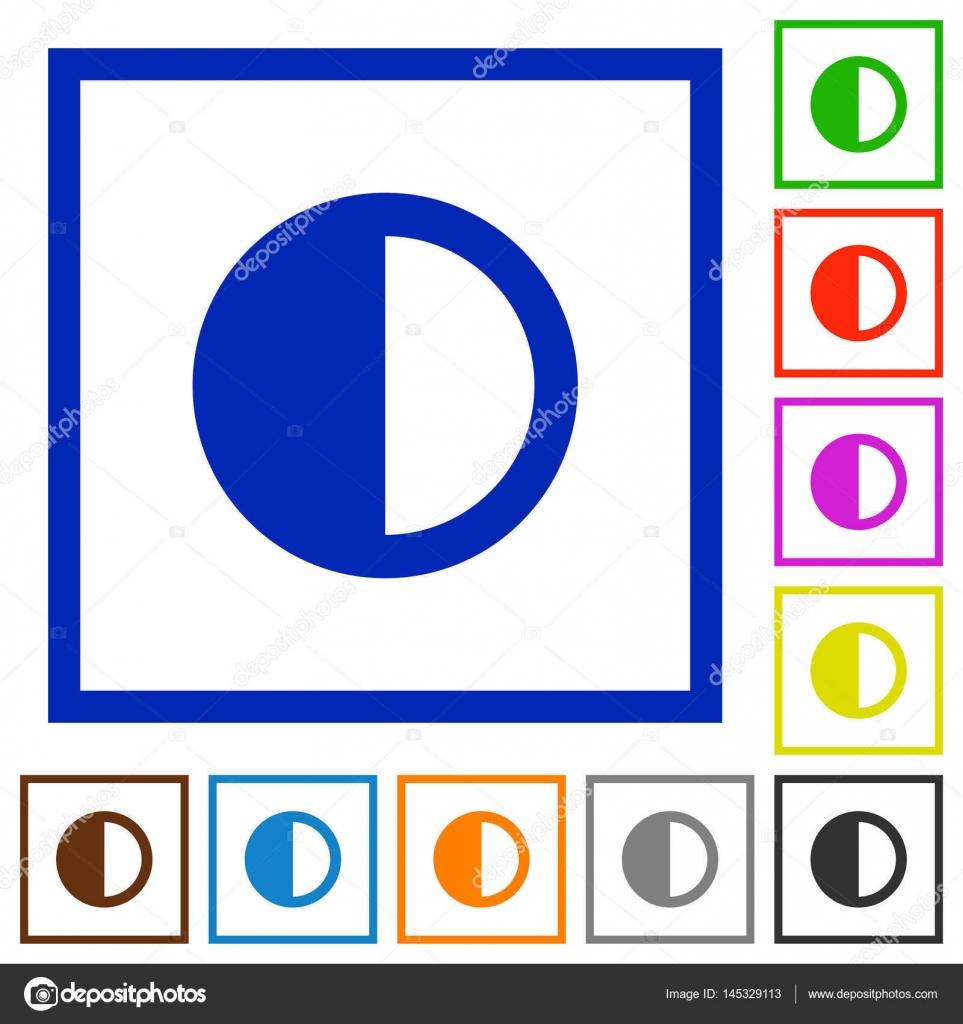Kontrast zu steuern flach gestaltete Symbole — Stockvektor ...