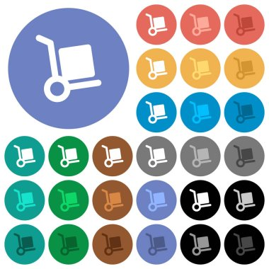 Hand truck round flat multi colored icons