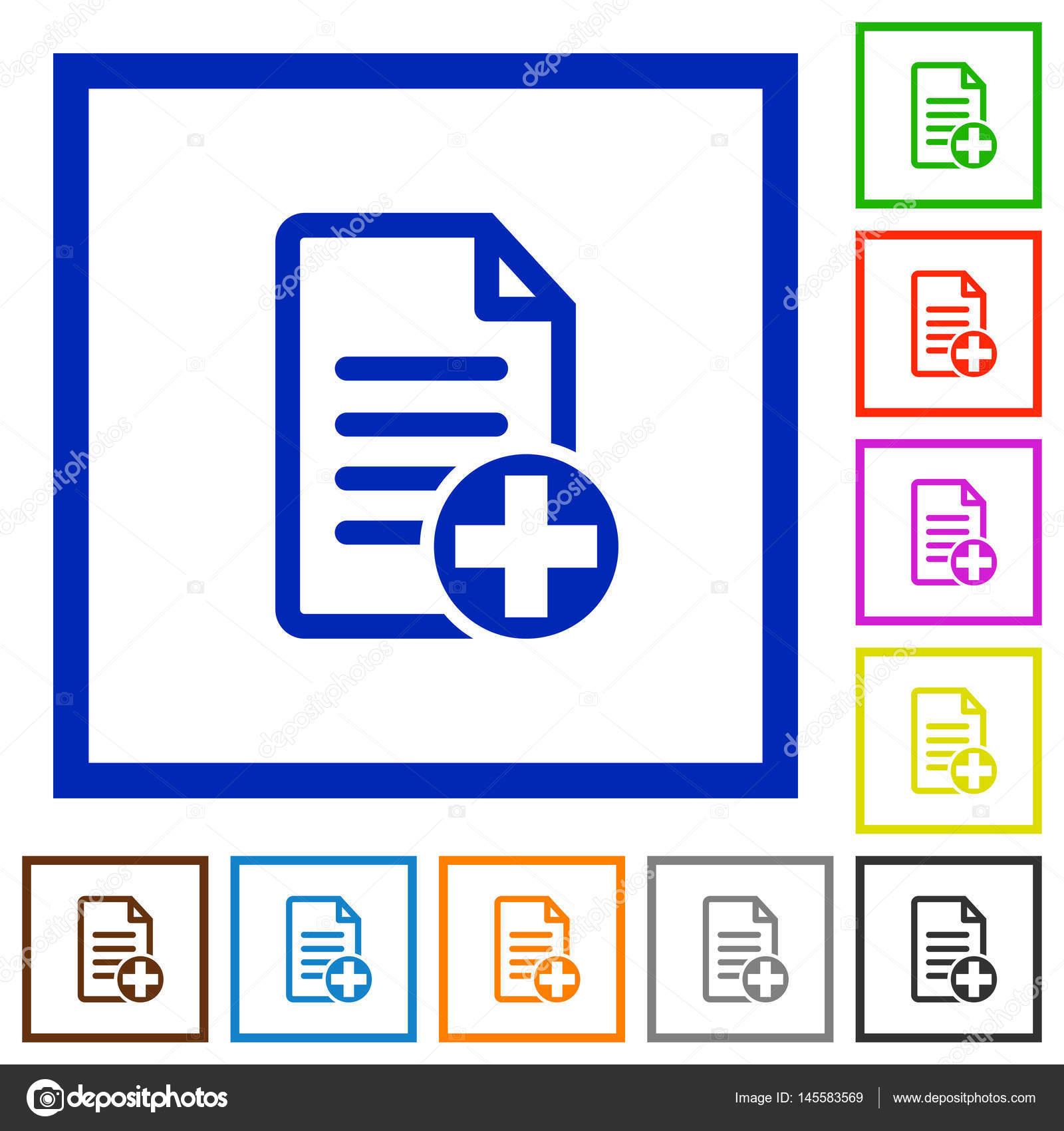 Agregar nuevo documento plano enmarcado los iconos — Archivo ...