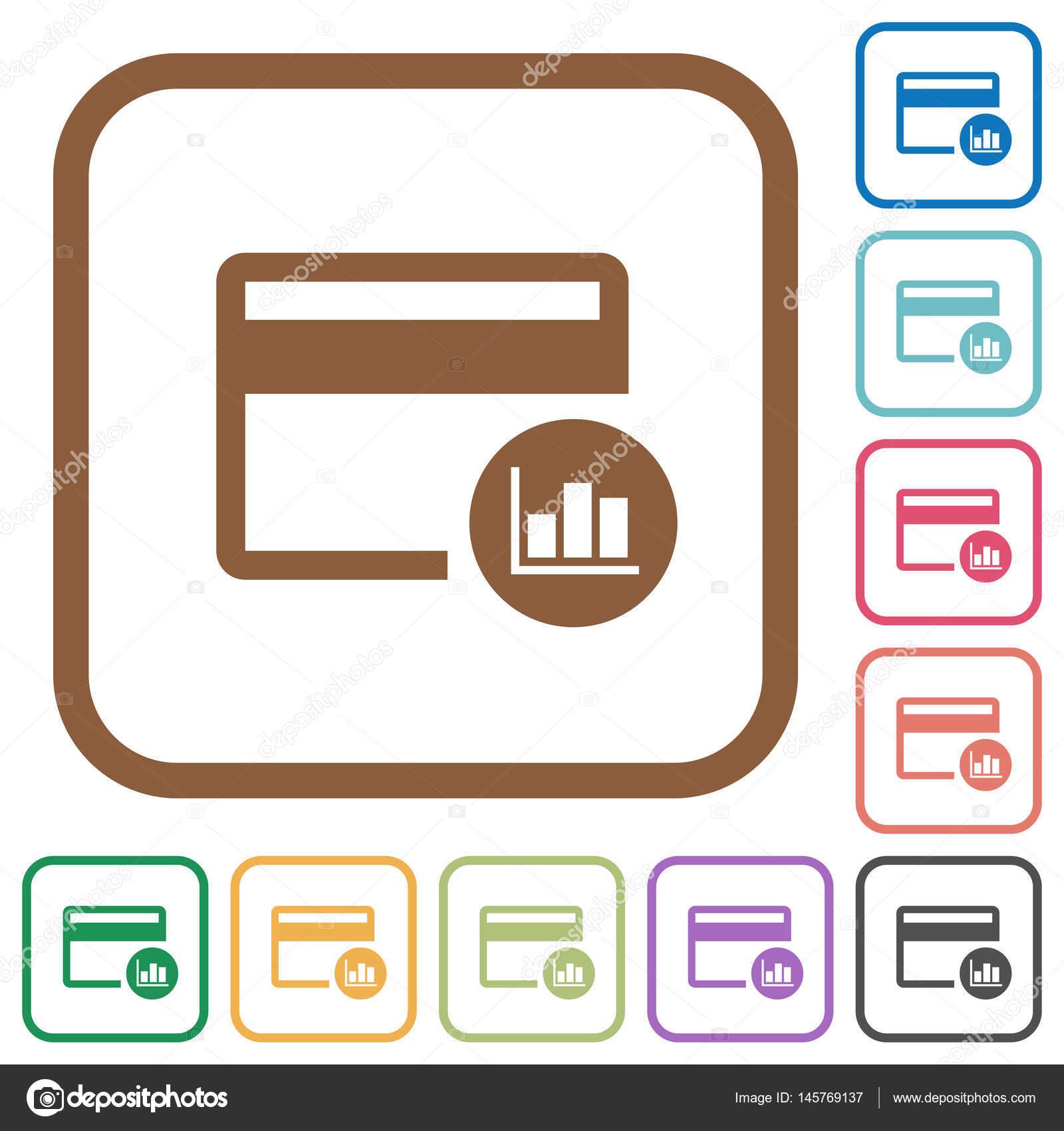 Kreditkarten-Transaktion berichtet einfache Symbole — Stockvektor ...