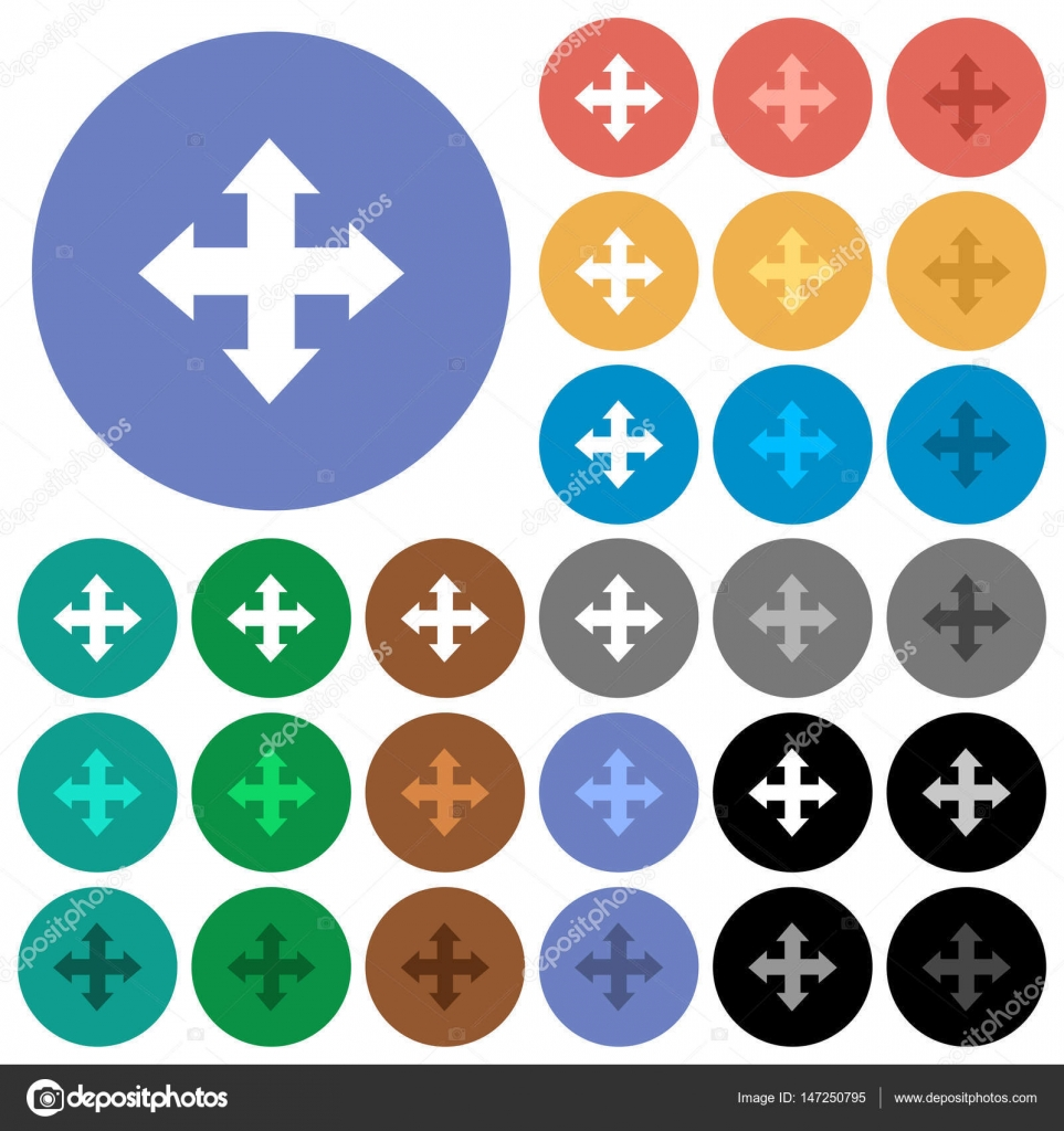 Bewegen Sie Werkzeug Runde flache Multi farbige Symbole ...
