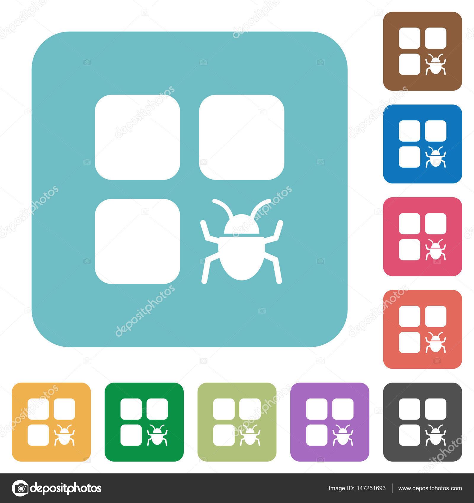 Komponente Bug abgerundet quadratisch flach Symbole — Stockvektor ...