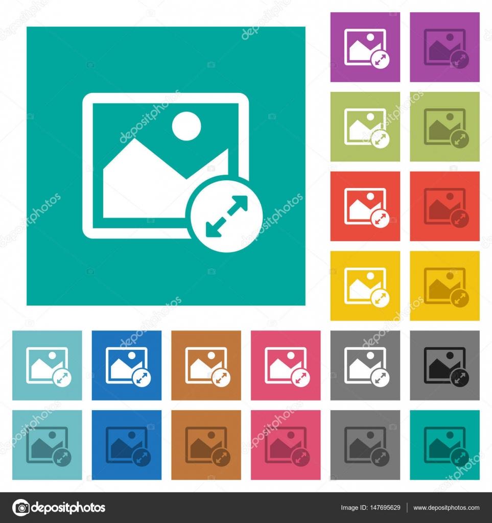 Cambiar el tamaño de imagen grande cuadrado plano multi color iconos ...