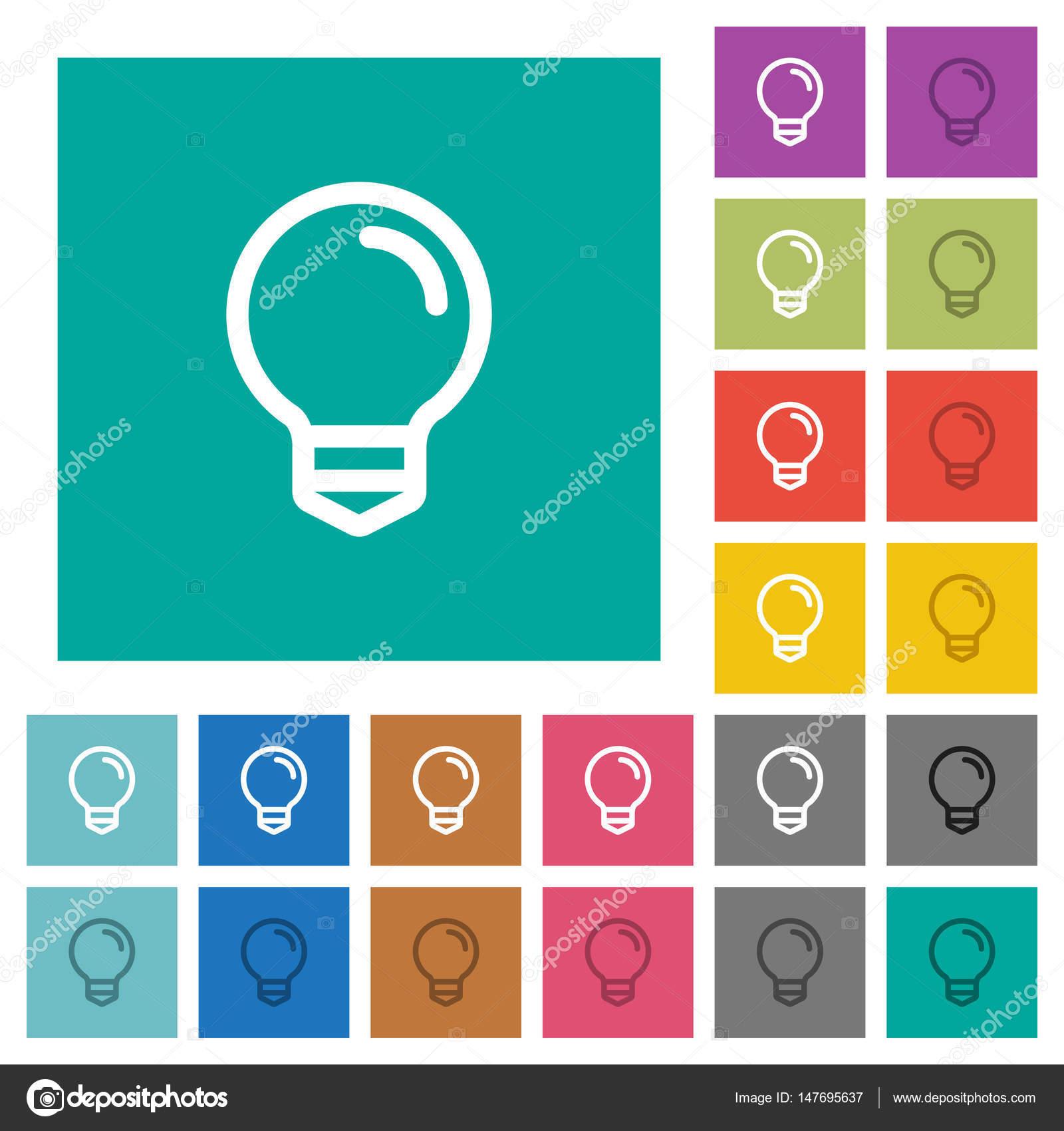 vector square blue icon lighting bulb. Light Bulb Square Flat Multi Colored Icons \u2014 Stock Vector Blue Icon Lighting T