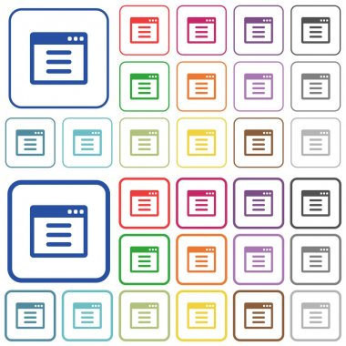 Application options outlined flat color icons