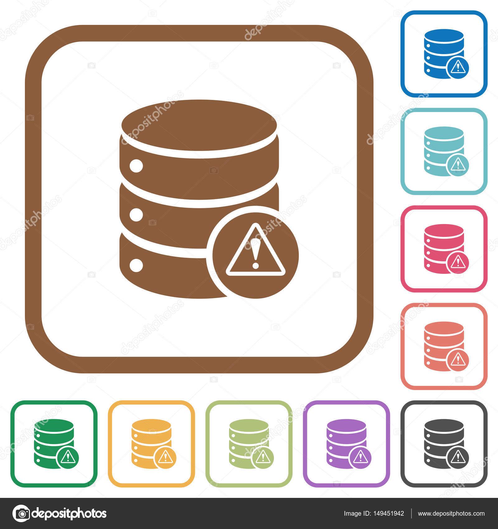 Iconos simple de errores de base de datos — Vector de stock ...