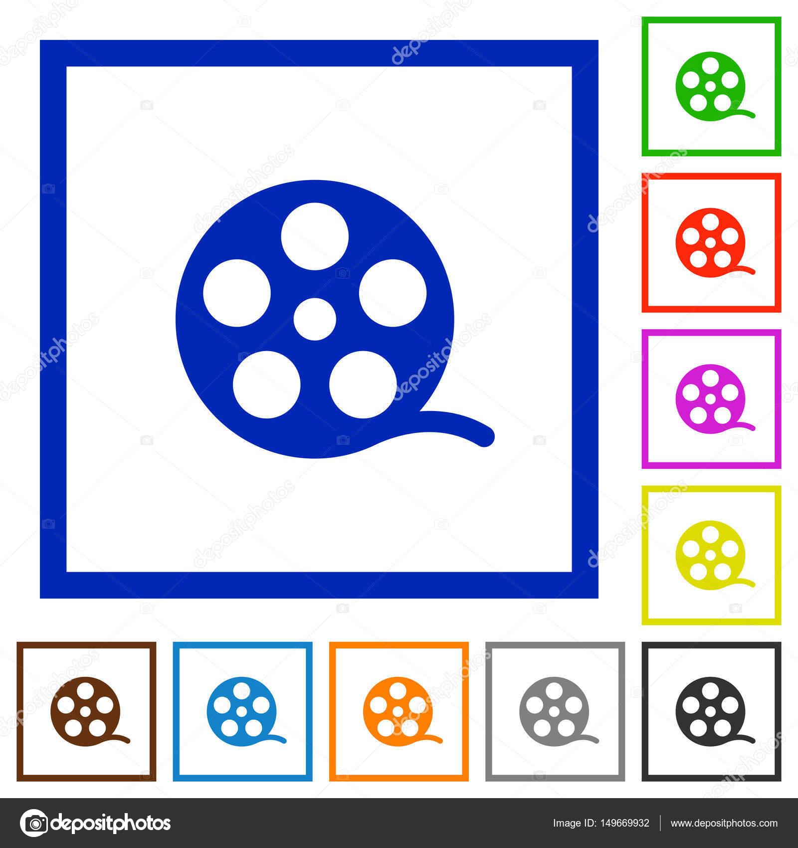 Película rollo plano enmarcado los iconos — Archivo Imágenes ...