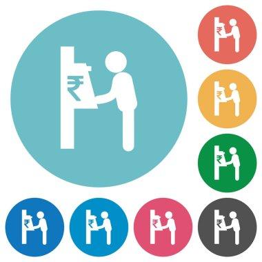 Rupee cash machine flat round icons
