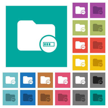 Directory processing square flat multi colored icons