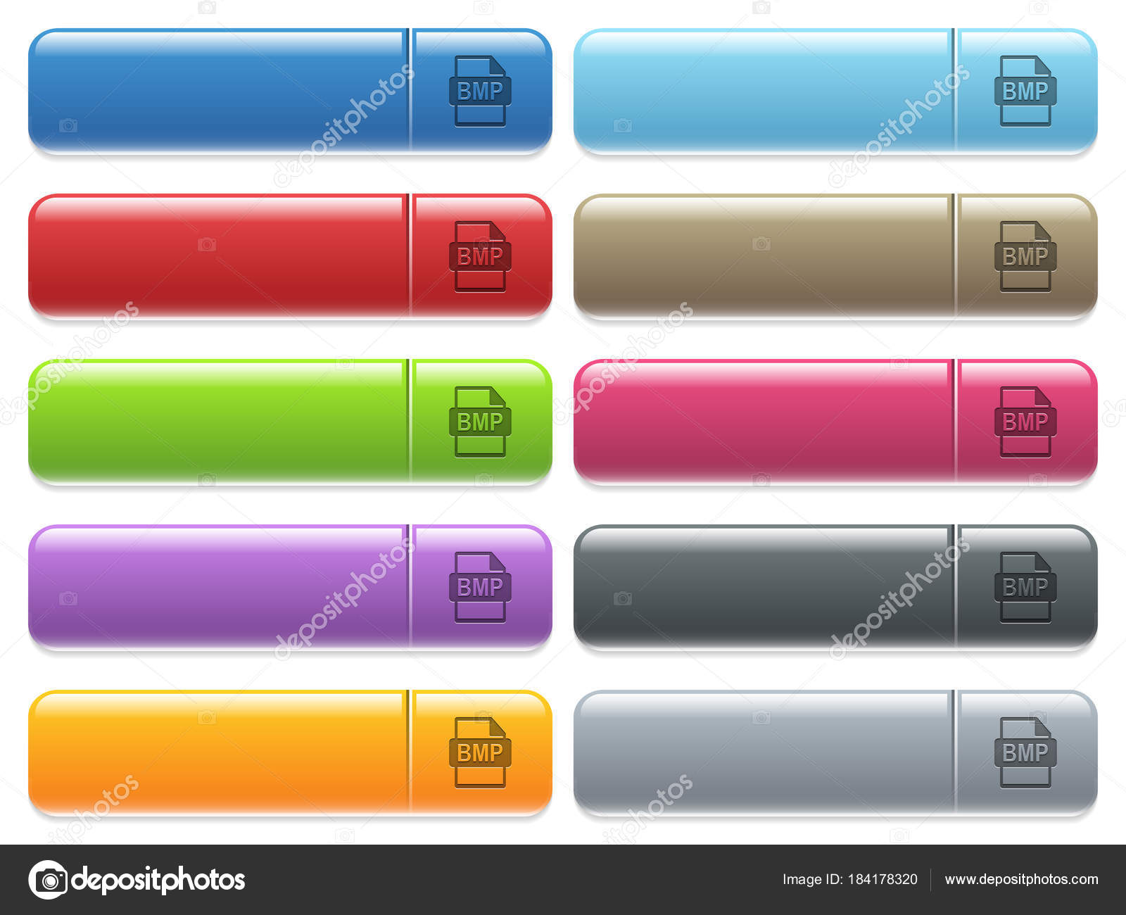 BMP file format icons on color glossy, rectangular menu