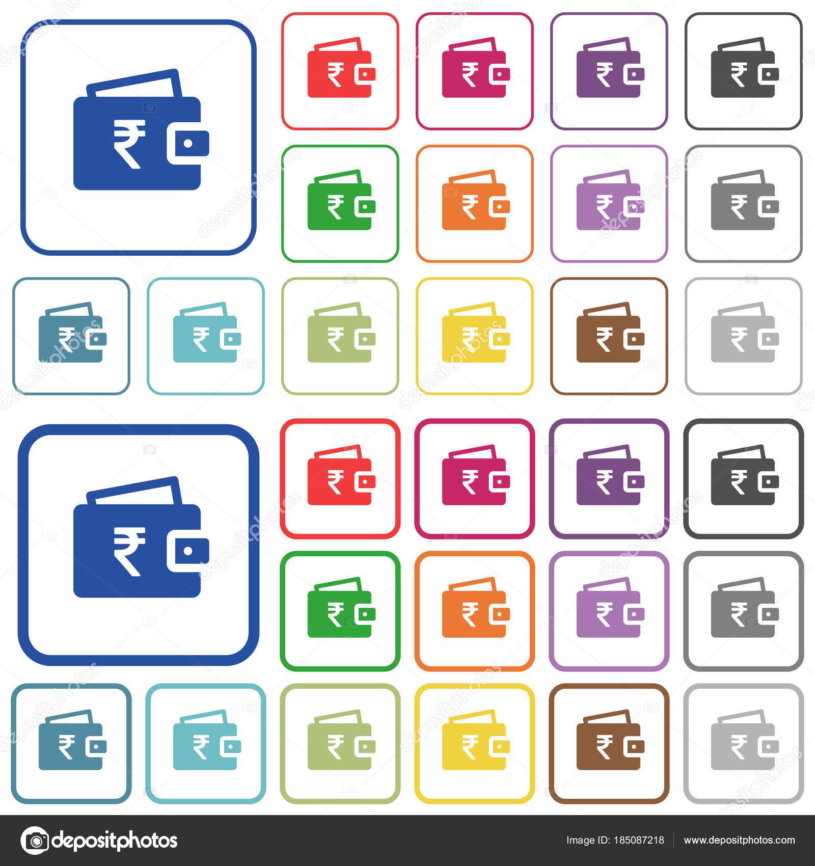 Indische Rupie Brieftasche beschrieben flache farbige icons ...