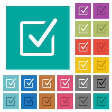 Checked box square flat multi colored icons