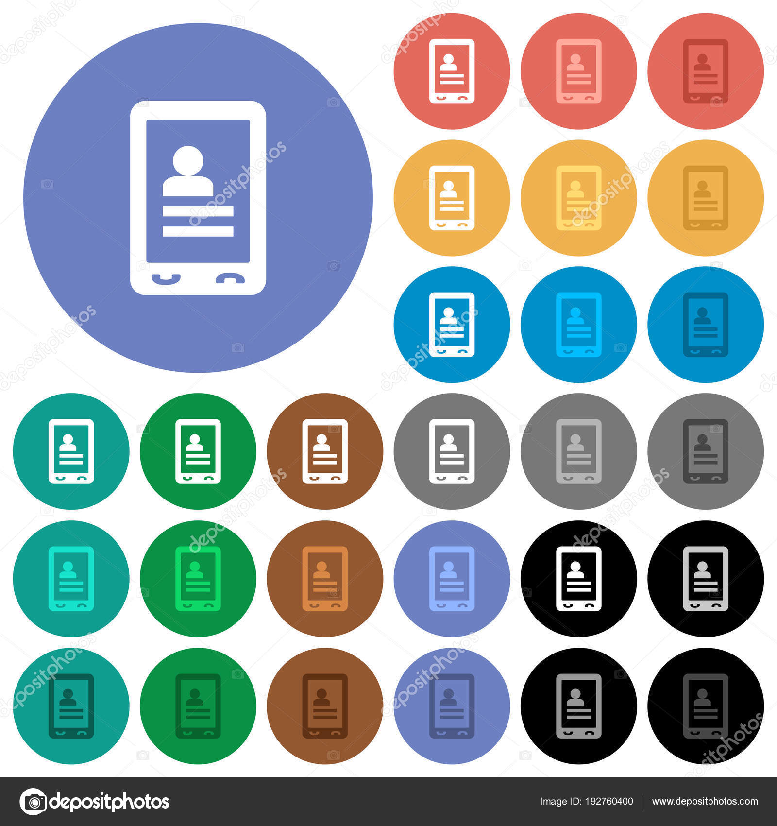 59d3f09e Mobile contacts multi colored flat icons on round backgrounds. Included  white, light and dark icon variations for hover and active status effects,  ...