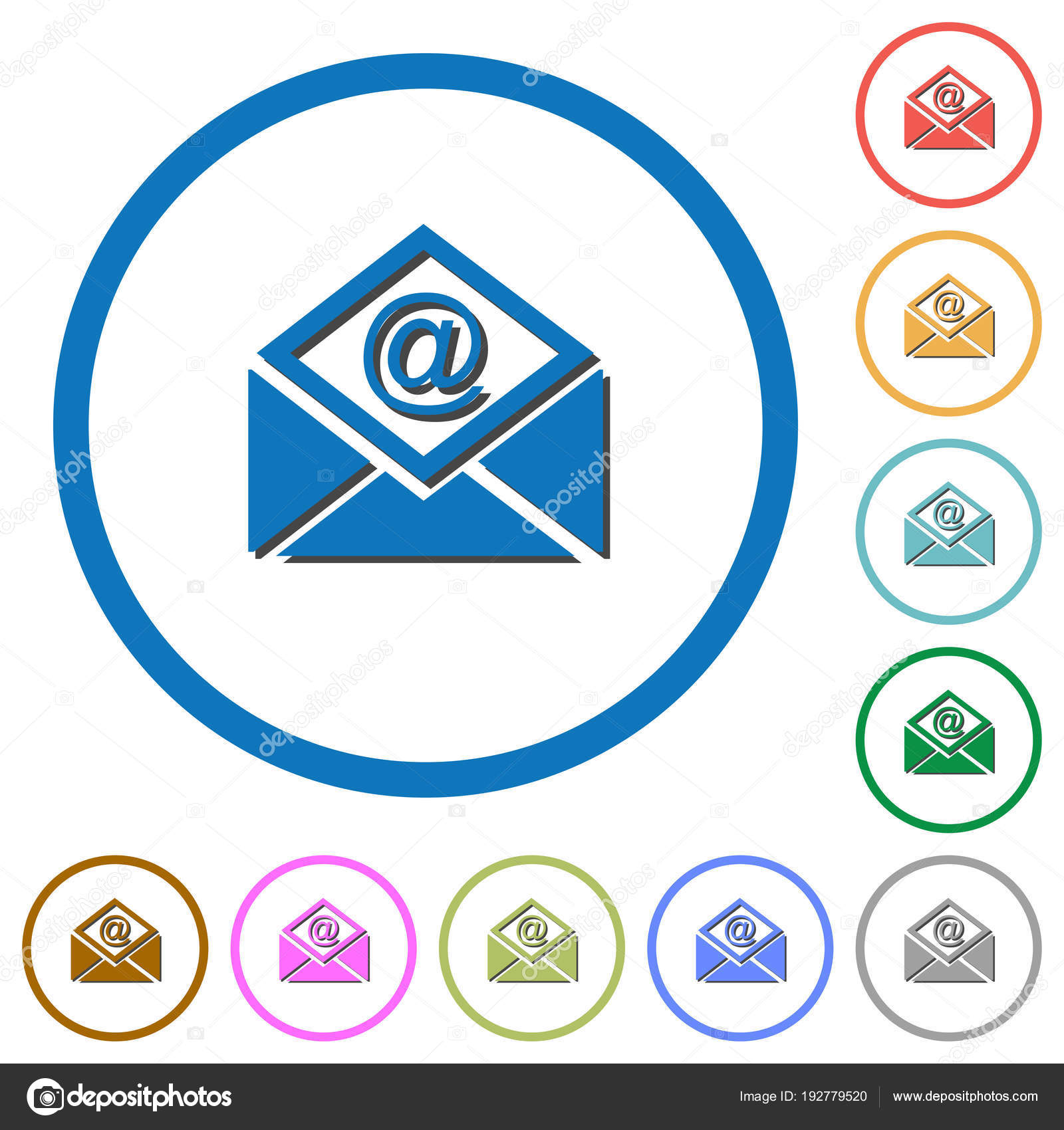 Open Mail With Email Symbol Icons With Shadows And Outlines Stock