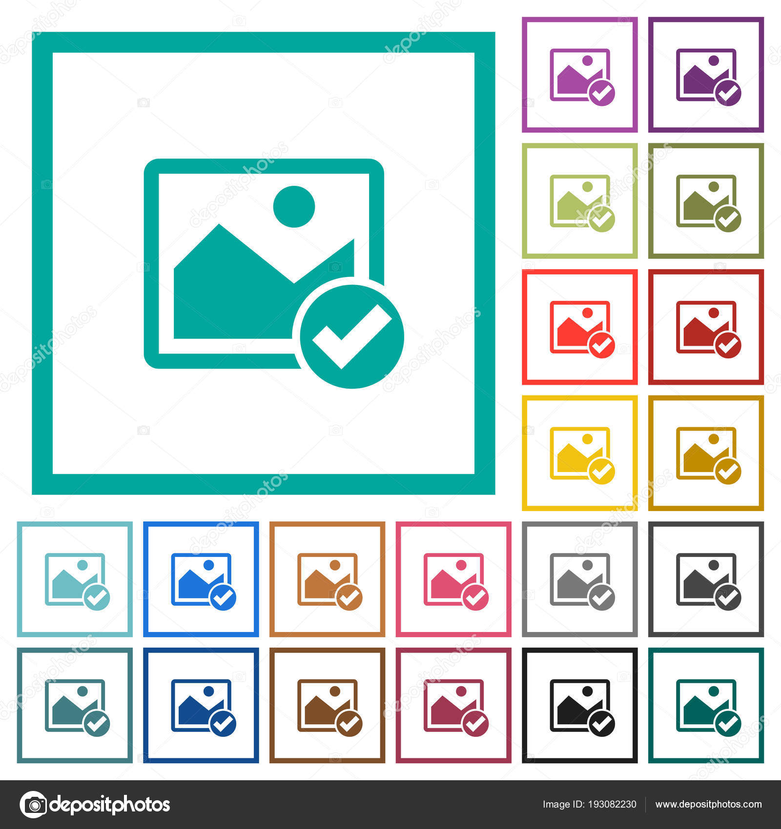 Image ok flat color icons with quadrant frames — Stock Vector ...