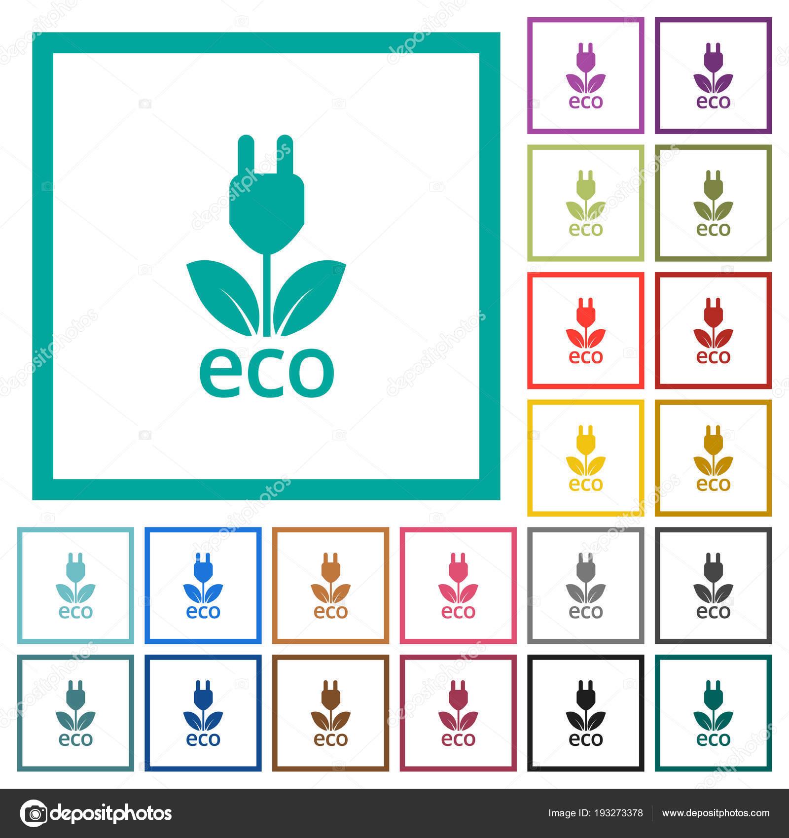 Iconos de color plano de energía de eco con marcos de cuadrante ...