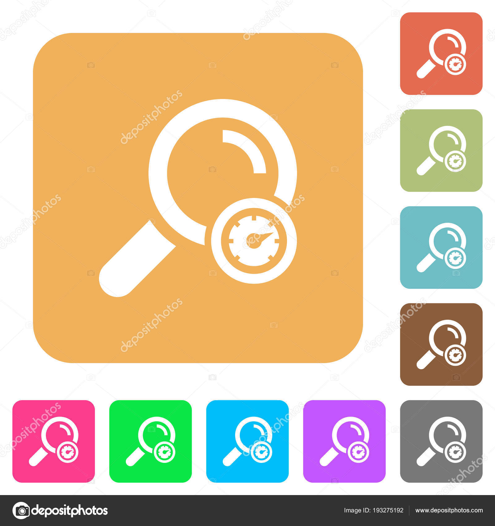 Search engine optimization rounded square flat icons — Stock