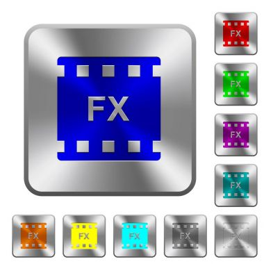 Movie effects rounded square steel buttons