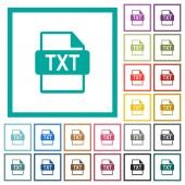 Fotografie TXT file format flat color icons with quadrant frames