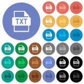 Fotografie TXT file format round flat multi colored icons