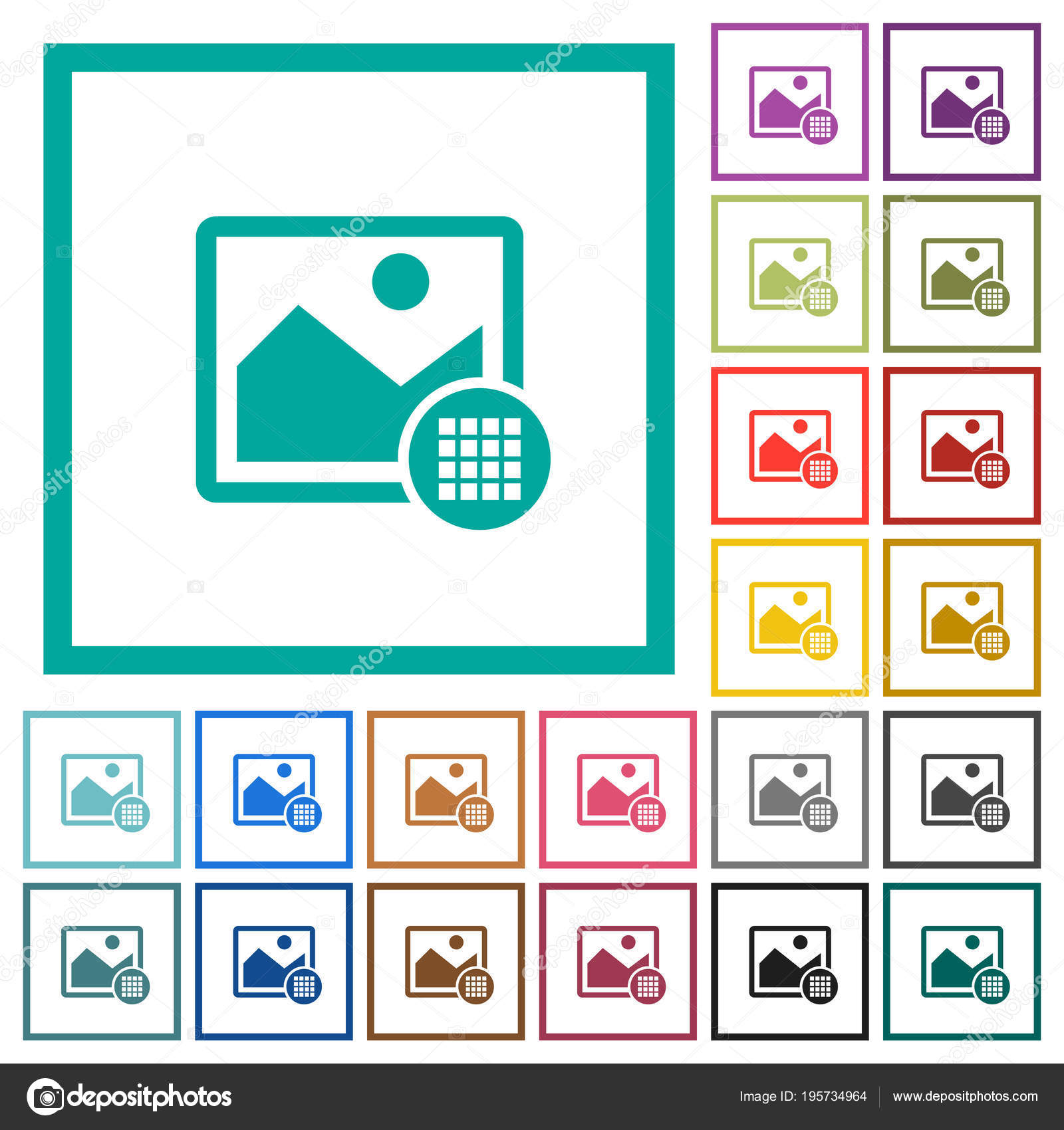 Image color palette flat color icons with quadrant frames — Stock ...
