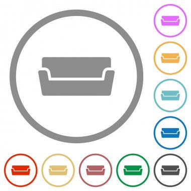 Couch flat color icons in round outlines on white background