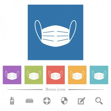 Medical face mask flat white icons in square backgrounds. 6 bonus icons included. stock vector