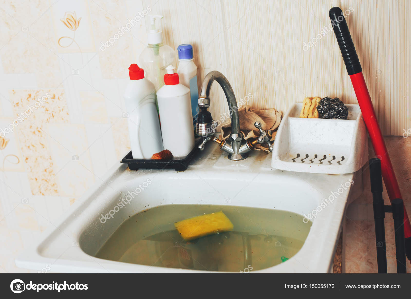 Clog In Kitchen Sink Obstruction Of Water Clog Pipes Stock Photo - Clogged pipes in bathroom