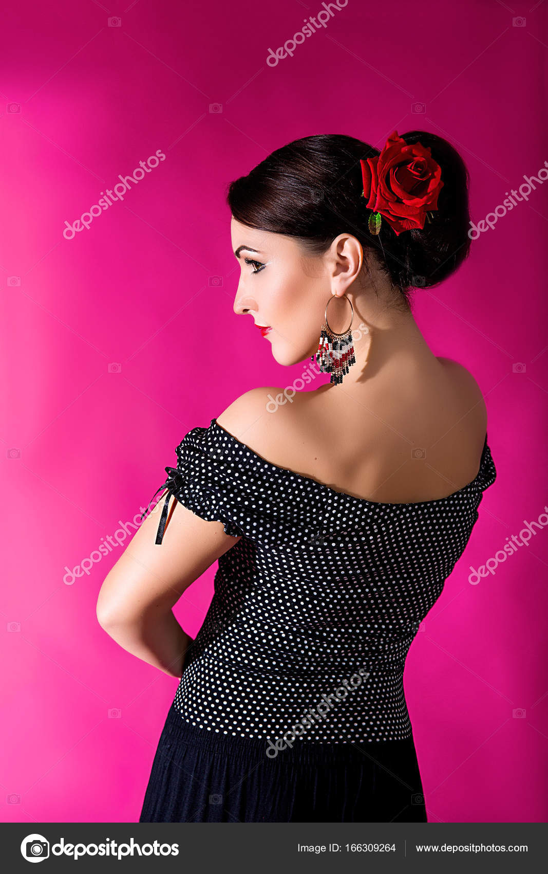 Flamenco Carmen Beautiful Woman In Black Dress With A Red Rose In