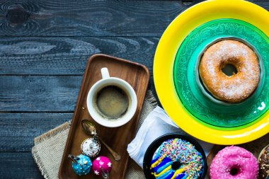 Colorful Donuts and coffee