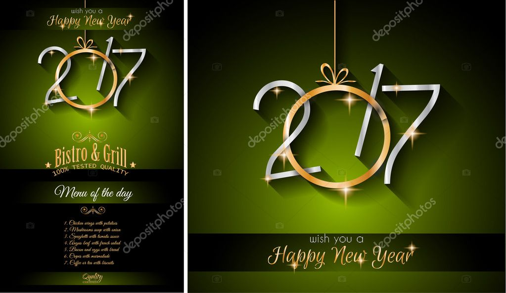 2017 happy new year restaurant menu template background for seasonal dinner event parties flyer lunch event invitations xmas cards and so on