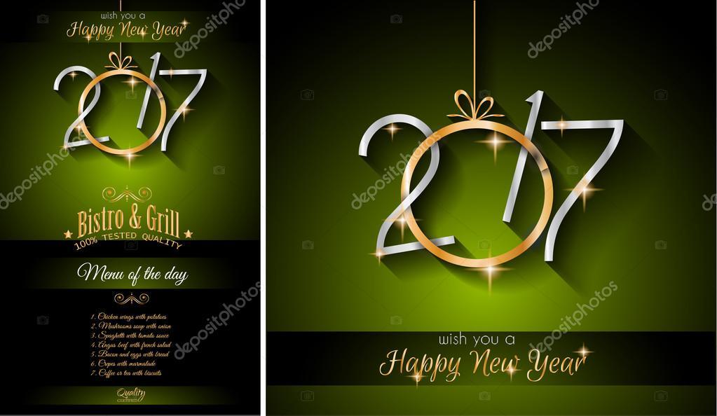 Invitacion A Almuerzo Navideño Menú De Año Nuevo Vector