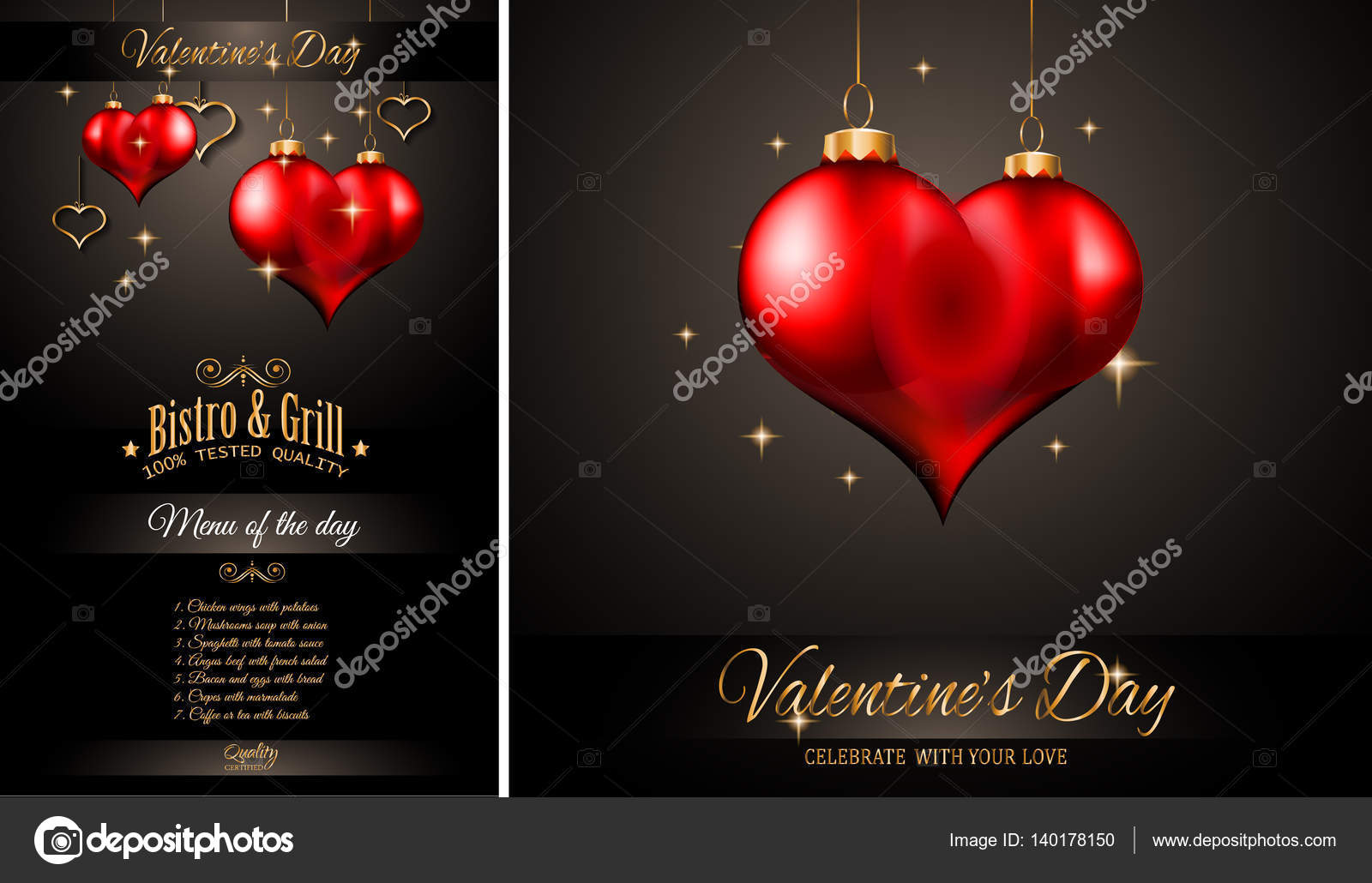 Valentine S Day Restaurant Menu Template Stock Vector C Davidarts