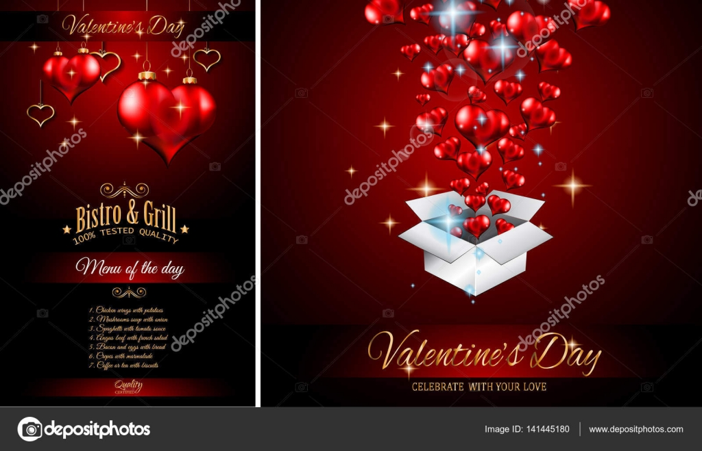 Valentinstag Restaurant Menüvorlage — Stockvektor © DavidArts #141445180