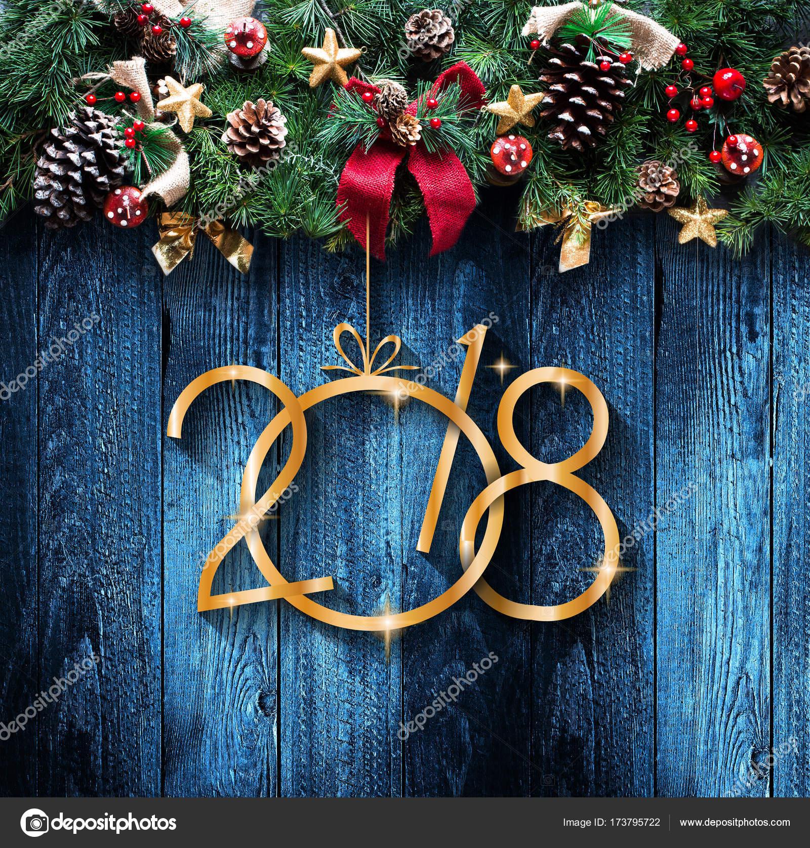 2018 Happy New Year En Merry Christmas Frame Met Sneeuw En Rea