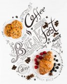 Hand Drawn Breakfast Lettering Typography with classic Phrases, Real sweet food