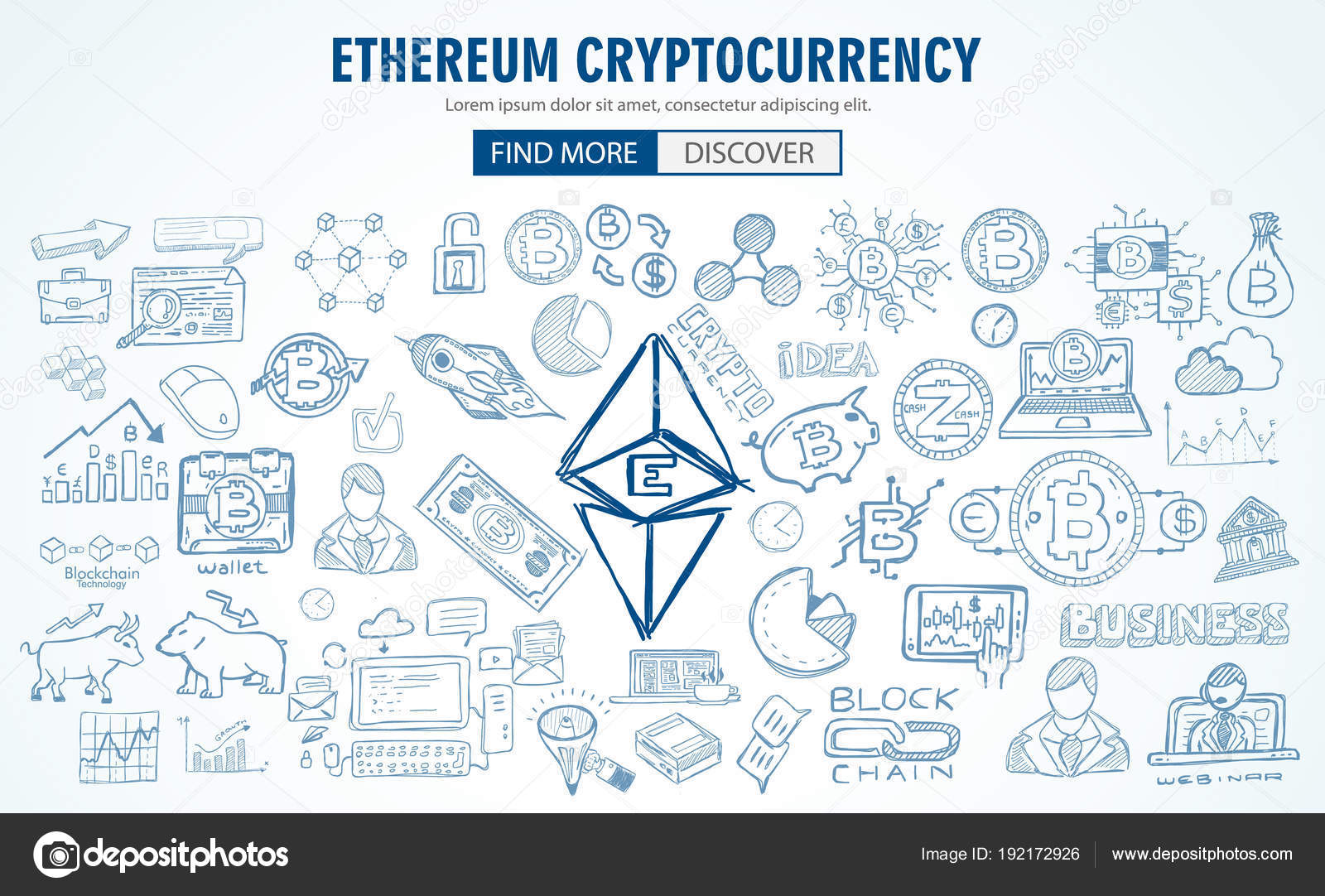 Cryptocurrency Concept Hand Drawn Doodle Designs Blockchain