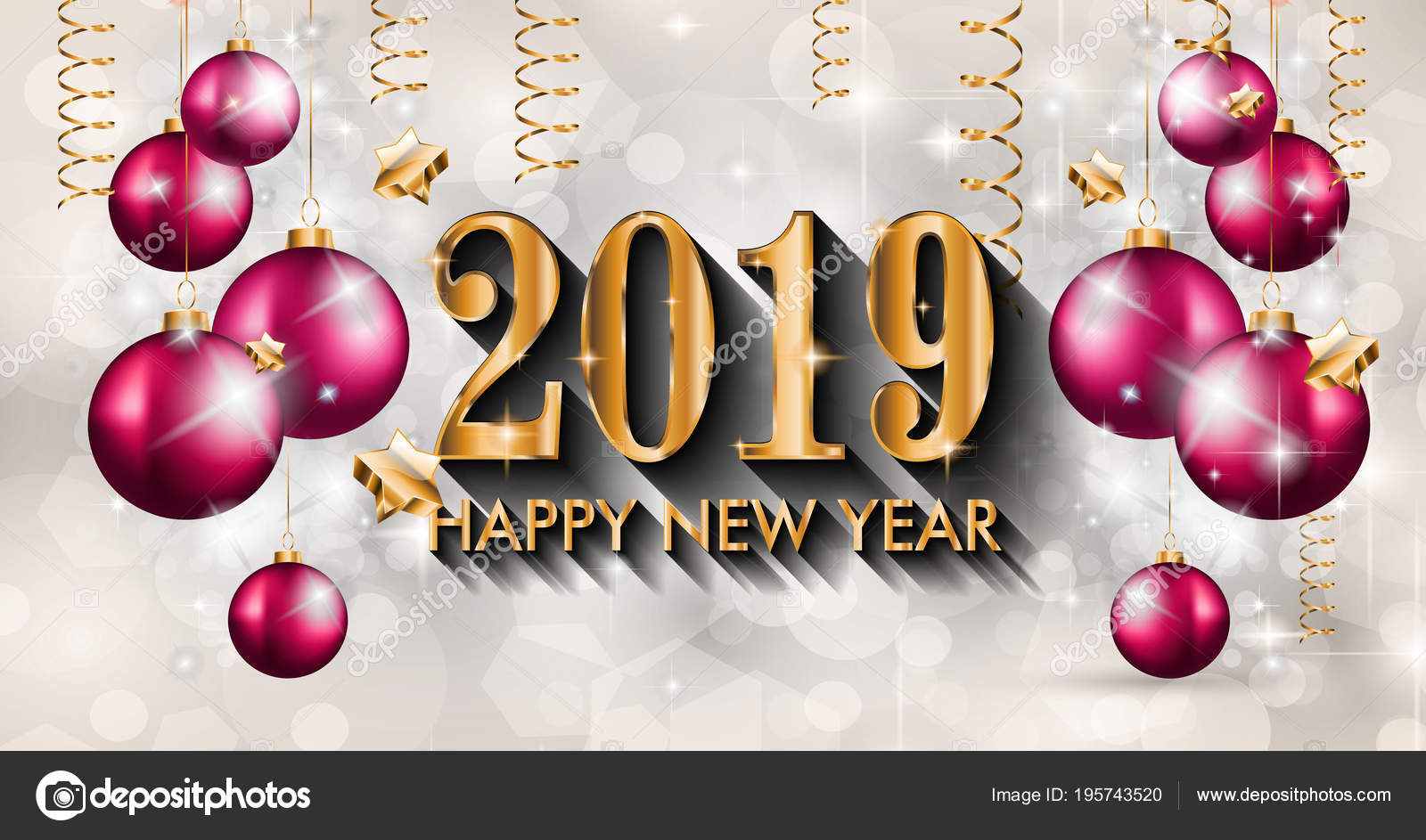 2019 happy new year background for your seasonal flyer and greeting card or christmas themed invitation vector by davidarts