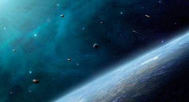 Blue deep space with planet. Elements furnished by NASA