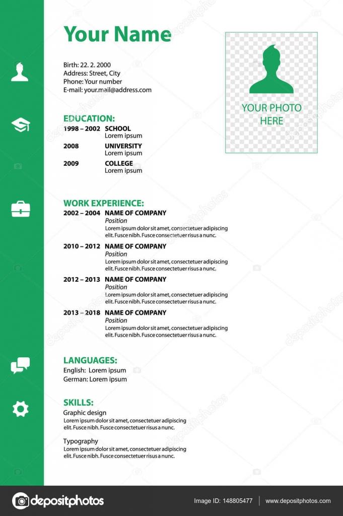 Vektor-Lebenslauf-Vorlage in grüner Farbe — Stockvektor ...