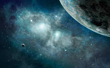 Space scene. Blue nebula with planet. Elements furnished by NASA