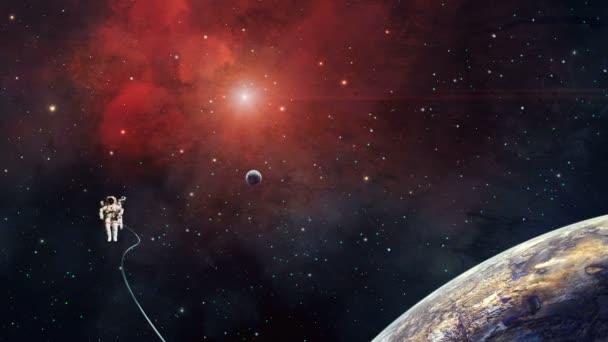 Űrjelenet. Az űrhajós vörös ködben repül a bolygóval. f elem