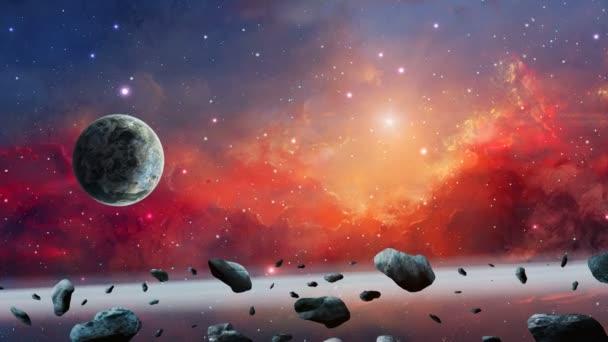 Vesmírné pozadí. Barevná mlhovina s planetou a asteroidem. Elements furnished by Nasa