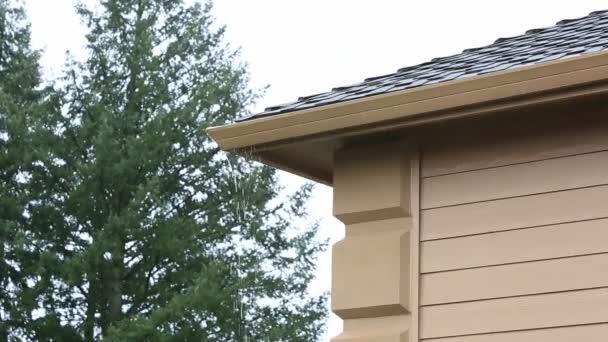 Vysoké rozlišení 1080p video z zapojen do okapu netěsní na střeše rodinného domu po prudkém dešti s audio zvuk hd 1920 × 1080