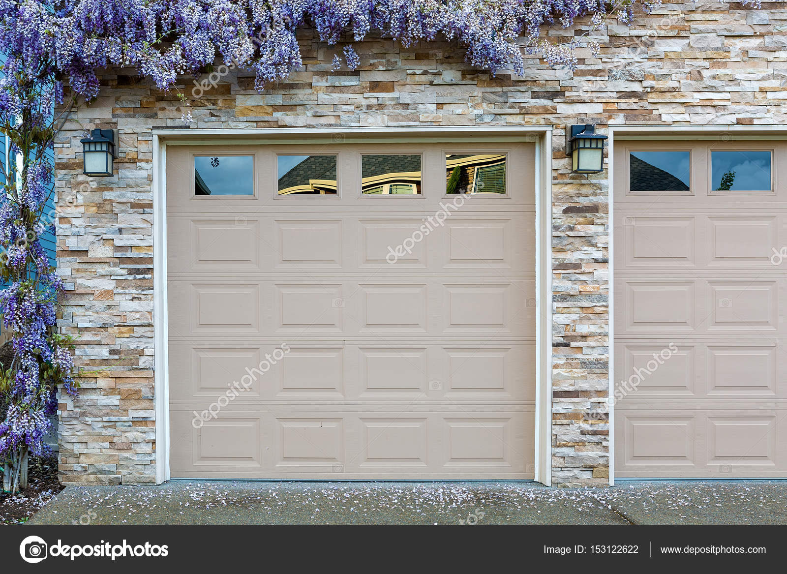 Wisteria Flowers By Home Garage Doors Stock Photo Jpldesigns
